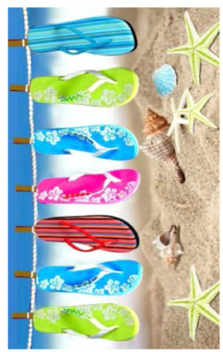 LARGE COTTON VELOUR BEACH HOLIDAY TOWEL '' SLIPPER LINE FLIP FLOP DESIGN ''